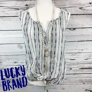 Lucky Brand Navy & White Sleeveless Tie Front Top